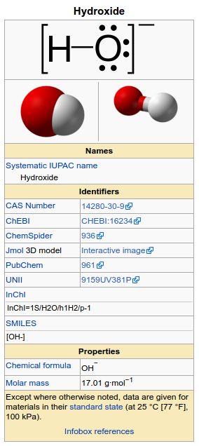 Hydroxide data from wikipedia infobox